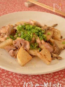 鶏肉と大根のごま味噌炒め