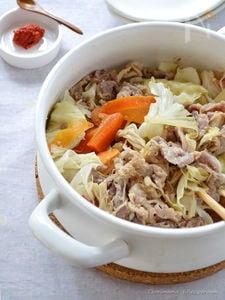 みそ豚野菜の鍋蒸し