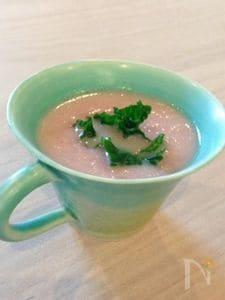 有機赤蕪と長葱の桃色スープ