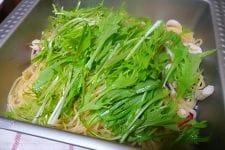 イカと水菜のさっぱりペペロンチーノ