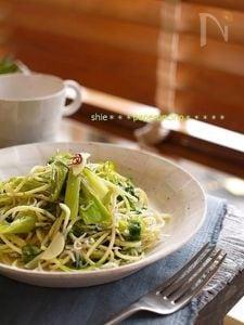 しらすと青海苔とたっぷり葱でペペロンチーノ