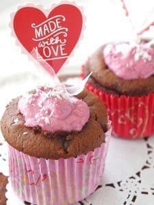 バレンタイン♥ベリーヨーグルトクリームのチョコマフィン