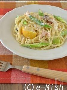 アスパラとツナの塩レモンクリームパスタ
