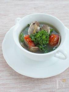 あさりのガーリックスープ