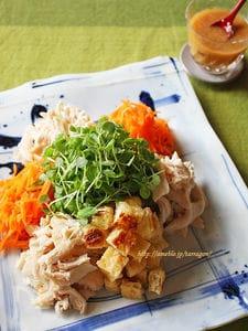ご馳走サラダ棒棒鶏 たっぷり生姜の胡麻醤油だれで♪