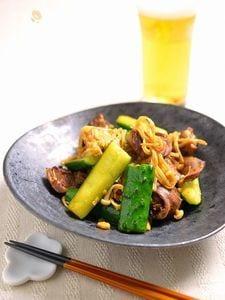 鶏ハツときゅうりの食べラー炒め