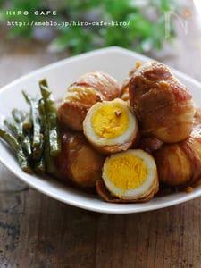 丸ごと卵の簡単豚バラ巻き☆