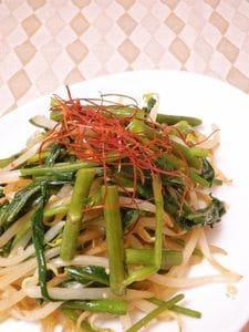 空芯菜ともやしのピリ辛塩麹炒め