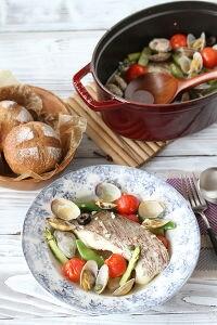 真鯛と春野菜のアクアパッツァ