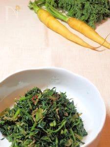にんじんの葉っぱとちりめんじゃこの佃煮風炒め