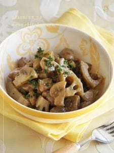 鶏と根菜のごろごろマッシュルーム炒め