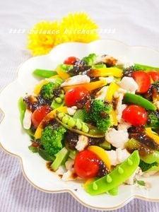 ぷりぷりササミのサラダ 簡単梅海苔ドレッシング