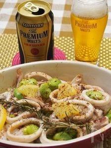 真鱈、イカ、空豆の塩レモンバーター☆オーブン焼き