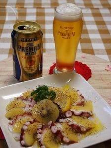 塩レモンでタコとキュウイのカルパッチョ