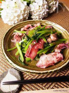 ひいかと青菜の花椒(ホアジャオ)塩炒め