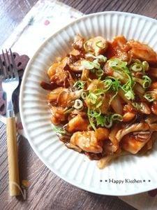 もっちり鶏むね肉と舞茸のケチャップ風味バター炒め