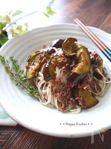 挽き肉と茄子の素麺チャンプルー