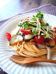 簡単!つけスパで茄子とエリンギのチーズ冷製パスタ