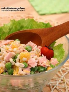 プチプチ♪「お豆と押し麦(大麦)のサラダ」