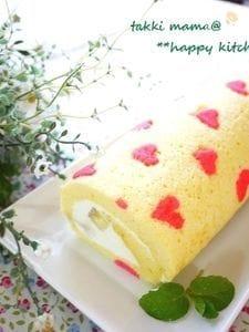 ハート模様のロールケーキ