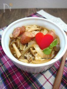 きのこと玉ねぎのカレースープかけご飯