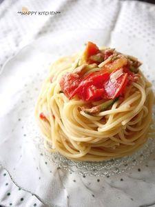 トマトときゅうりのさっぱりレモン風味冷製パスタ