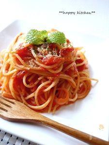 缶詰で簡単本格的♪カニ風味のクリーミートマトパスタ