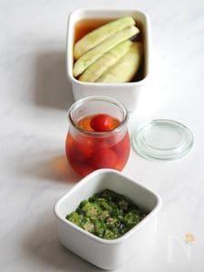 夏野菜のだし漬け。