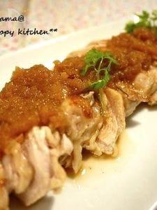 鶏むね肉で柔らか♪さっぱり玉ねぎソースの蒸し鶏