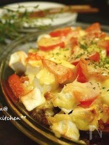 はんぺん入りでふっくら♪トマトと挽き肉のチーズ焼き