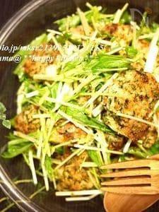 鶏むね肉でサラダ感覚♪青海苔風味のチキンカツサラダ
