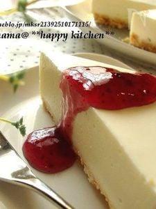 ヨーグルト入りでふんわり爽やか♪簡単レアチーズケーキ