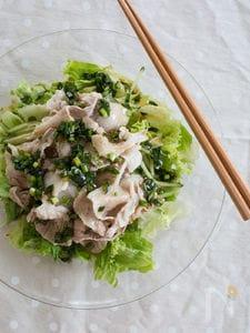 豚しゃぶサラダ さっぱり中華風ニラだれ