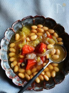 大豆と野菜の食べるスープ。「あなわた」1度で2品の続き