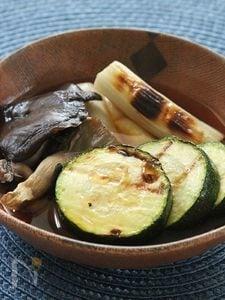ひらたけと夏野菜の焼き浸し