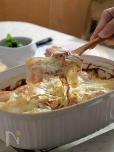 焼き白菜とスモークサーモンのグラタン