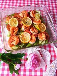 海老と彩り野菜のオーブン焼き ~ 初夏ver.