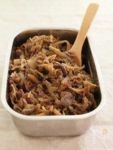【作り置き】牛肉とマイタケの甘辛煮・圧力鍋で簡単!
