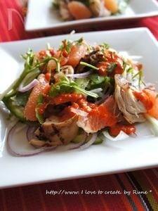 山葵パプリカドレッシング塩麹胸肉サラダ
