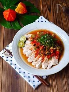 レンチン簡単!蒸し鶏の夏野菜南蛮