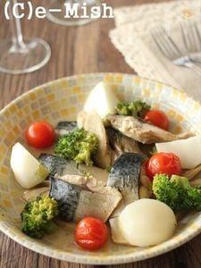 塩さばと根菜のアクアパッツァ