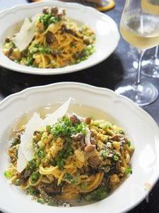 植物繊維たっぷりカルボナーラパルミジャーノ鶏胸肉カレーソース