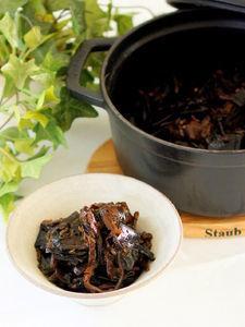 ストウブオーブン煮で実山椒たっぷりの椎茸昆布