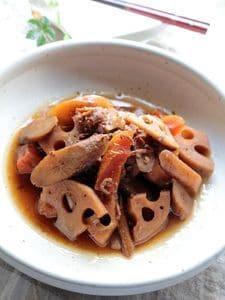 圧力鍋で作る、豚肉と根菜のきんぴら