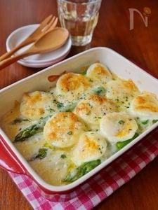 アスパラガスとゆで卵のチーズ焼き