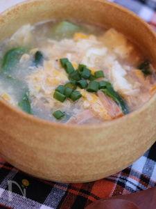 チンゲン菜のかき卵スープ