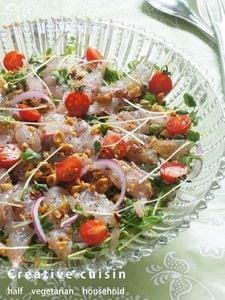 鯛刺身と豆苗の香ばしい☆アメリカンナッツ