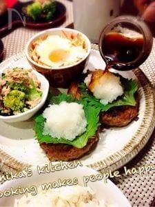 肉汁ジュワ〜な根菜入りハンバーグ♡和風おろしソースで♪