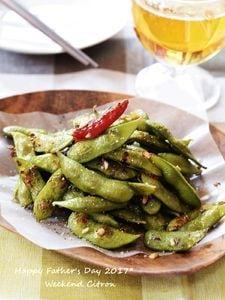蒸し枝豆のペペロンチーノ
