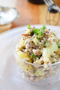 レンチン簡単!塩こんぶとゆかり ミートポテトサラダ